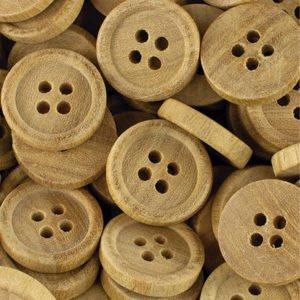 Botão de madeira natural