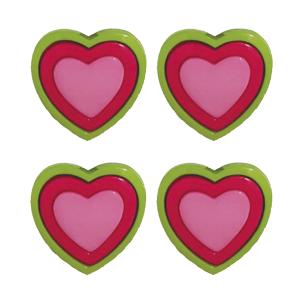 Botão Coração 3-25 Verde
