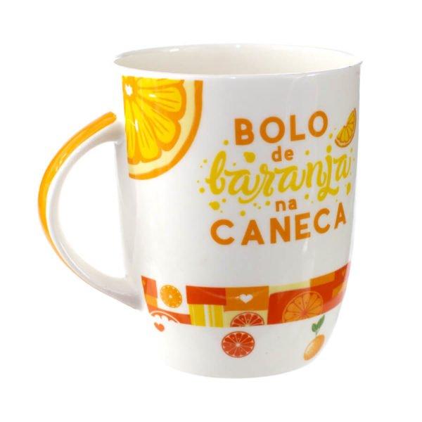 caneca de porcelana com mensagem bolo de laranja