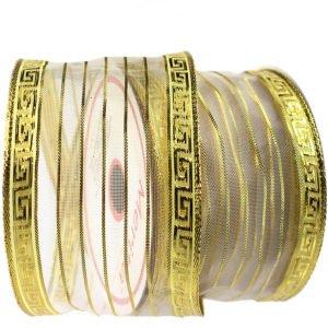 fita aramada dourada com tela branca semi transparente, listras douradas e arabesco nas laterais