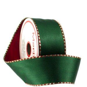 Fita Aramada dupla face com um lado verde com detalhes laterais vermelho e dourado e outro lado vermelho com detalhes laterais verde e dourado