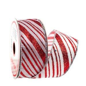 fita aramada branca com listras diagonais de vermelho glíter